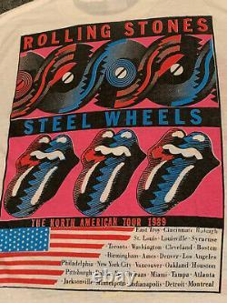 Vintage Rolling Stones Shea Stadium 1989 Concert T-Shirt Steel Wheels USA Tour