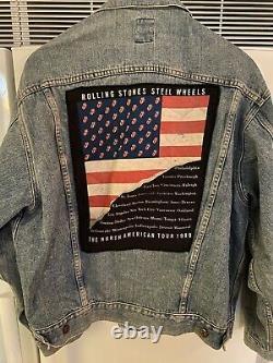Vintage Rolling Stones Steel Wheels Tour Jean Jacket 1989 Made By Brockum XL