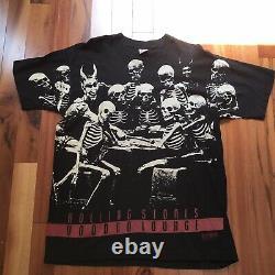 Vintage Rolling Stones Voodoo Lounge 94/95 Tour Black Skeleton Print T Shirt XL