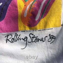 Vtg 1989 Rolling Stones Steel Wheels Tour T Shirt Warhol Two Sided Single Stitch