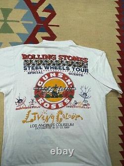 Vtg Rolling Stones 89 Steel Wheels Tour LA Coliseum Guns N Roses Shirt Size L