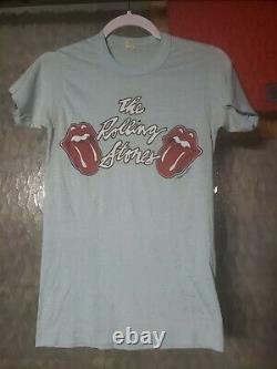 1970 Authentique Pierres D'origine Des Rolling Bleu Clair T-shirt De Concert Taille Moyenne