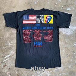 1989 Vintage 80s L'étonne Rolling Du Nord Américaine Tour T-shirt Hommes Sz S Black