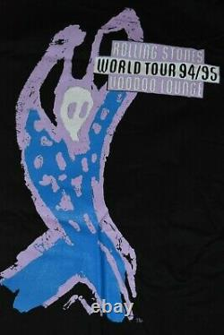 1994 Vtg Rolleing Stones Vaudou Lounge Logo Soies Chemise Nos Brockum Taille L
