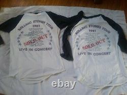 2 1981 Rolling Stones Vintage Raglan T-shirt Taille Moyenne Et Talons De Billets