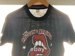 80 Vintage Rolling Stones Parking Lot Concert T-shirt Hommes Sz Xs S 70