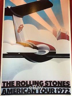 Affiche Vintage Original Les Rolling Stones American Tour 1972 Avion Pop Musique