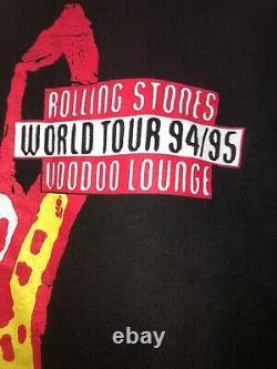 Brockum Rolling Stones 94/95 Tour Vintage T-shirt Noir Taille XL Fabriqué Aux États-unis