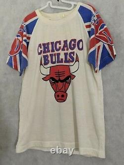 Chicago Bulls X The Rolling Stones Lips Vintage 70s 80s Stadium T Shirt Bootleg