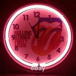 Horloge Vintage De Mur De Néon De Takane Avec Les Pierres Roulantes Quarante Lèche Made In USA