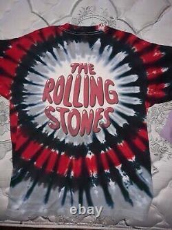 Les Rolling Stones 1994-1995 Voodoo Lounge Tye Tye Chemise Rare Vintage XL