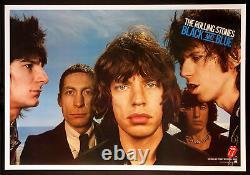 Les Rolling Stones Noir Et Bleu Vintage 1976 Promo Poster Linbacked