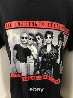 Mens Vintage XL The Rolling Stones 80s Concert Steel Wheels Band Tee T Shirt