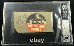 Mick Jagger 1964 Rolling Stones Vintage Autographié Signé Cut Beckett Bas
