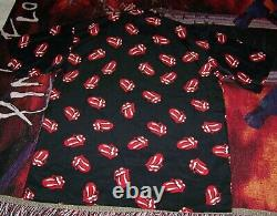New Nwt Vintage The Rolling Stones Art Dragonfly Polyester Button Dress Shirt L