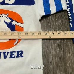 New Vintage Chemise Homme XL Orange Blue Denver Broncos NFL All Over Imprimer