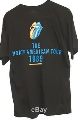 Original Vtg Rolling Stones 1989 Concert Tour T-shirt Mick Jagger Stock Mort