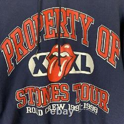 Propriété Vintage De Rolling Stones Tour Hoodie 1997-1998 Size XL Tongue Crew