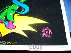 Rare Vintage Mick Jagger Rolling Stones Tongue Velvet Blacklight Affiche 35 X 23