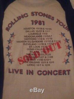 Rare Vintage Réelle 1981 Rolling Stones Neville Brothers Tour T-shirt Dragon