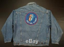 Rare Vtg Brockum Rolling Stones 1989 Steel Wheels Tour Denim 80s Veste 90 XL