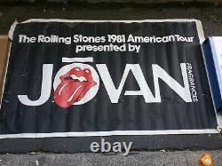Rolling Stones 1981 Jovan Tournée Bannière 60 X 36 Vg Impossible Hung Dans Les Salons Vtg
