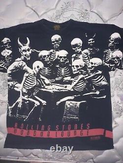 Rolling Stones 1994-1995 Voodoo Lounge Skeleton Chemise Rare Millésime Partout XL