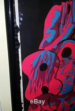 Rolling Stones Affiche Lumière Noire Original Vintage Pin-up Psychédélique Beeghley