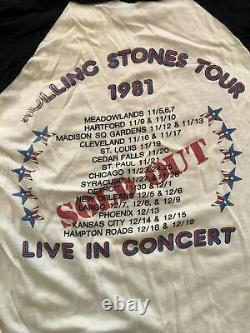 Rolling Stones Original 1981 Vintage Tour Raglan Baseball Shirt Large Band Des Années 80
