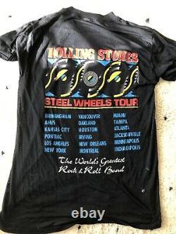 Rolling Stones Original T Shirt Vintage Rock Tee Steel Wheels Tour