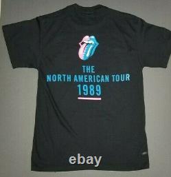 Rolling Stones Roues En Acier Dayglow Tour Chemise 1989 Amérique Du Nord Double Face