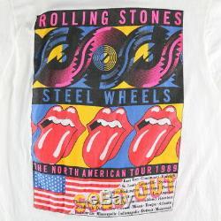 Rolling Stones Shirt Vintage T-shirt 1989 80 T Steel Wheels Concert Tour Band