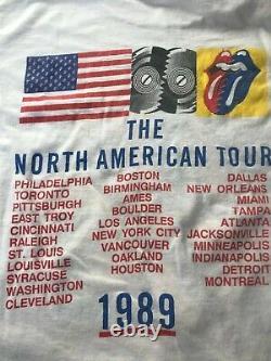 Rolling Stones Steel Wheels Tour Nord-américain Vintage T-shirt 1989 XL