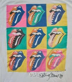 Rolling Stones Steel Wheels Tour T Shirt Vtg1989 Warhol Two Sided Single Stitch