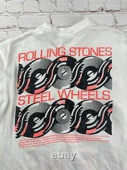 Rolling Stones Tournée Nord-américaine 1989 T-shirt Blanc Lg Vintage Rare