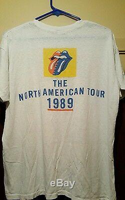 Rolling Stones Vintage Chemise De La Tournée Nord-américaine Taille 1989 Grande Rare