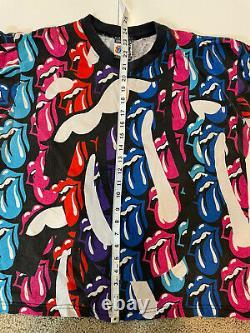 Rolling Stones Vintage Multi-tongue 1989 Rockwave Par Brockum Taille 2 T-shirt Rare
