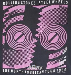Rolling Stones Vintage Steel Wheels Aucun Américain 1989 XL Tournée Noir Sweat