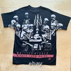 Rolling Stones Voodoo Lounge Vintage Shirt XL Skeleton All Over Print Brockum