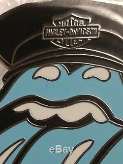 Vintage 1969 Rare Harley Davidson Chapeau De Visage Rolling Stones Tongue Crâne Pin Nouveau
