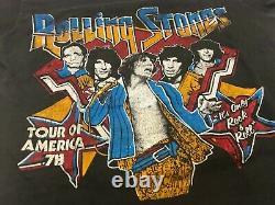 Vintage 1978 Rolling Stones Tour D'amérique T-shirt Noir Faded Distressed