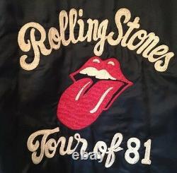 Vintage 1981 De Rolling Stones Broder Rock Concert Tour Black Jacket. Rare