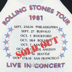 Vintage 1981 Rolling Stones Live In Concert Tour Jersey Shirt