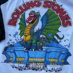 Vintage 1981 Rolling Stones Tour Tee Raglan Chemise De Baseball Large 80s Rock Band
