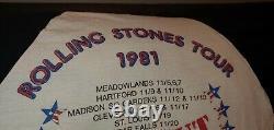Vintage 1981 Rolling Stones Tournée Tee Raglan Taille MD Mick Jagger Rock N ' Roll