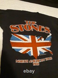 Vintage 1981 The Rolling Stones North American Rock Concert Tour T Shirt Sz Med