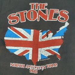 Vintage 1981 The Rolling Stones North American Rock Concert Tour T-shirt Taille XL