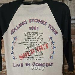Vintage 1981 Volling Stones Concert Tee Dragon American Rock Tour T Shirt Band M
