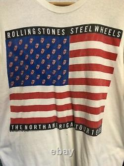Vintage 1989 Rolling Stones Steel Wheels North American Tour Shirt Rare L White