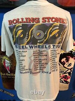 Vintage 1989 Rolling Stones Steel Wheels Rock Concert Tour T-shirt Hommes